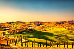 Tuscany countryside panorama, rolling hills and green fields on. Sunset. Italy, Europe royalty free stock image