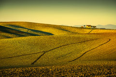 Tuscany countryside panorama, rolling hills and plowed fields on Royalty Free Stock Image