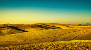 Tuscany countryside panorama, rolling hills and plowed fields on Stock Images