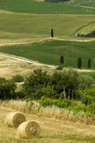TUSCANY Countryside With Farms And Hay-ball Stock Photos