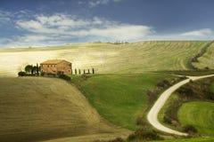 Tuscany fält i höst Royaltyfri Foto