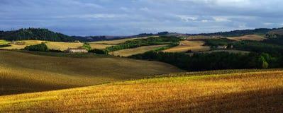 Tuscany fältpanorama Arkivbilder