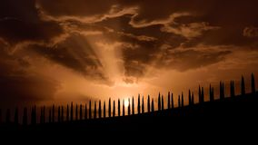 Tuscany famous cypress trees silhouette at the sunset on a summer day. With red clouds in the background Royalty Free Stock Photography
