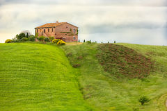 Tuscany farmhouse with fields and flowers, Val d'Orcia, Italy Royalty Free Stock Photos