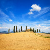 Tuscany, farmland, cypress trees and white road. Siena, Val d Or Stock Image