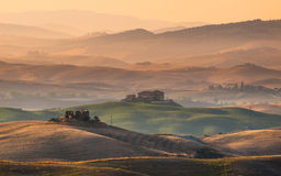 Tuscany Farmland with Villas and Villages Stock Photos
