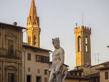 Tuscany Florence, Neptunspringbrunn Royaltyfri Fotografi