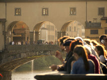 Tuscany,Florence,Ponte Vecchio and tourist. Stock Images