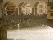 Tuscany,Florence,Ponte Vecchio and tourist. Royalty Free Stock Image