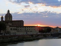 Tuscany, Florence, sunset over one of the most beautiful cities royalty free stock photo