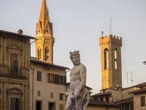Tuscany, Florencja, Neptune fontanna Fotografia Royalty Free