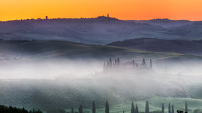 Tuscany foggy sunrise Royalty Free Stock Images