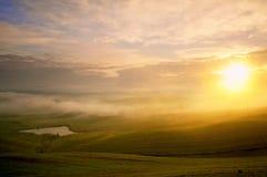 Tuscany foggy sunrise Royalty Free Stock Photos
