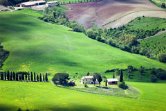 Tuscany green hills stock photo
