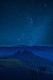 Tuscany gwiazdy i dolina Fotografia Royalty Free