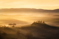 Tuscany hills at sunrise Royalty Free Stock Photos