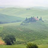 Tuscany house in fog Stock Image