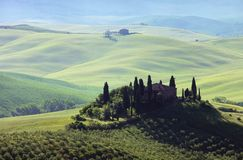 Tuscany house in fog Stock Photo