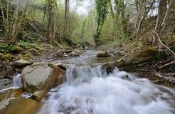 Tuscany Italien, en strömvattenfall i bergen royaltyfria bilder