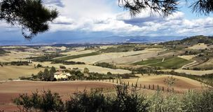Tuscany, Italy Farmhouse & Rolling Countryside Stock Images