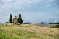 Tuscany, Italy landscape. With old little church Royalty Free Stock Images
