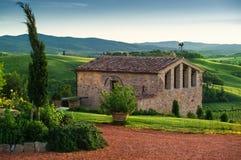 Tuscany - Italy. Landscape in Tuscany, the ranch house Stock Photos