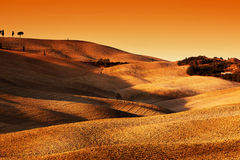 Tuscany, Italy landscape at sunset. Picturesque hills with lights and shadows. Royalty Free Stock Image