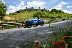 Tuscany, Italy - May 2019: unidentified drivers on AMILCAR CGSS SILURO 1926 royalty free stock images