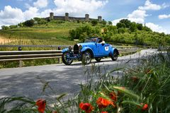 Tuscany, Italy - May 2019: unidentified drivers on Bugatti Type 40 GS 1927 stock photos