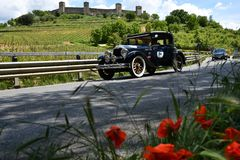 Tuscany, Italy - May 2019: unidentified drivers on BUICK MASTER SIX COUPE 1928 stock photos