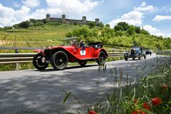 Tuscany, Italy - May 2019: unidentified drivers on Lancia Lambda VII Serie 1927 stock images
