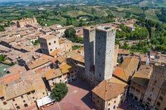 Tuscany Italy. Sight from San Giminiano's town hall Royalty Free Stock Photo
