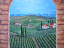 Tuscany Italy village painting. Royalty Free Stock Images