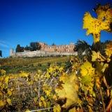 Tuscany kasztel na wzgórzu fotografia stock