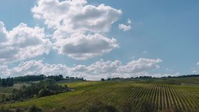 Clouds are moving fast during a 4k time-lapse over the vineyard filled country side of Tuscany. Tuscany is knows for its unique landscape. This time-lapse shows stock footage