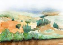 Tuscany krajobraz w ziemskich kolorów tekstury tle Zdjęcie Royalty Free