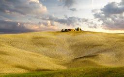 Tuscany Kształtuje teren, jesieni pole, Włochy, Val, d, Orcia zdjęcie royalty free