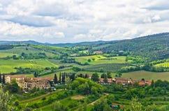 Tuscany kullar, landskap nära San Gimignano Royaltyfri Foto