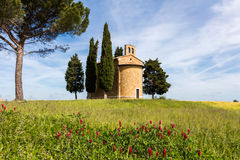 Tuscany kyrka som omges av cypressar Royaltyfri Bild