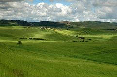Tuscany landscape. Landscape whit green grass with clouds and farms Stock Image
