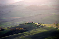 Tuscany landscape. View of a hilltop farm in Tuscany near Siena, Italy Stock Photography