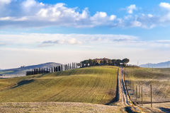 Tuscany landscape. The 'Val d'Orcia' (Siena, Tuscany), with its beautiful hills. The Tuscan valley is one of the most beautiful areas of Italy Royalty Free Stock Images