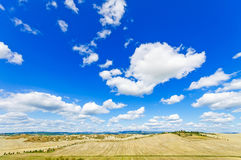 Tuscany landscape. Aerial panorama on fields and trees, Italy, E Stock Photos