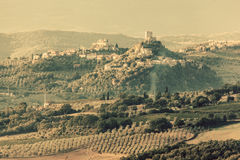 Tuscany landscape with ancient castle, vineyard and green hills, Italy. Vintage Stock Photos