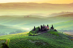 Tuscany, Landscape. A beautiful country house with the tuscan landscape in background, hills, cypress, olive trees Stock Image