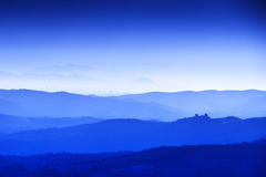 Tuscany Landscape at blue hour Stock Photo