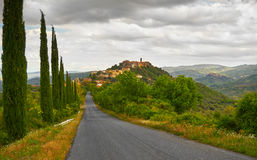 Tuscany Landscape with Cypress Trees Stock Photo