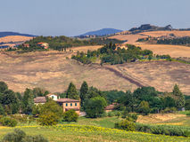 Tuscany Landscape Dotted with Farms and Villas Stock Photo