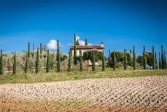 Tuscany. Landscape with farm in background,Chianti region, , Italy Royalty Free Stock Photo