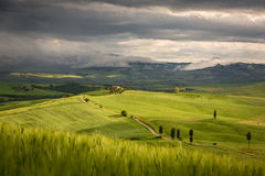 Tuscany landscape with farm near Pienza, Italy Royalty Free Stock Images